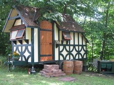 An adorable fairy tale friendly tiny house seen at Pennsic this year