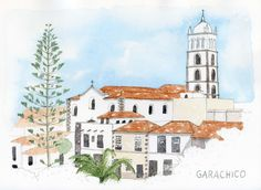 Garachico (Tenerife, Spain) in Lamy Safari pen (EF nib), Noodlers Lexington Gray ink and watercolour.