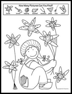 """Spring Activity Coloring Pages. This Hidden Pictures is one in a four page set including Color By Numbers Snake (addition by Watering Can Matching Pair, and """"It's a Spr-ing Thing,"""" a fun vocabulary teaser. Thanksgiving Activities, Spring Activities, Learning Activities, Colouring Pages, Coloring Pages For Kids, Kids Coloring, Adult Coloring, Hidden Picture Puzzles, Native American Symbols"""