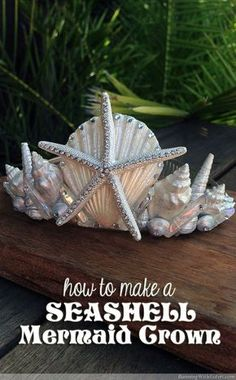 DIY Seashell Mermaid Crown - learn how to make a beachy headpiece out of an inexpensive tiara, real shells, a starfish, and Swarovski crystal rhinestones! This complete step by step how to shows you how to paint the shells and starfish with pearl acrylic craft paint, then arrange the shells in a princess crown style. Includes a video showing how to handle and glue tiny rhinestones! Great for a seaside wedding or a beachy birthday celebration!