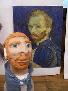 Students create a sculpture of a famous artist.