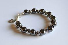 Hematite and silver bracelet hematite jewelry by starrydreams, $35.00