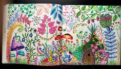 MINE #johannabasford #enchantedforest Enchanted Forest Book, Enchanted Forest Coloring Book, Colouring Pages, Coloring Books, Adult Coloring, Johanna Basford Secret Garden, Johanna Basford Coloring Book, Crazy Colour, Rainbow Colors