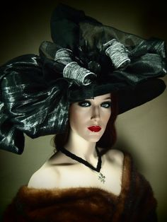"""Black and Silver Couture Witch Hat """"Eternal Sleep"""" 21"""" OOAK"""