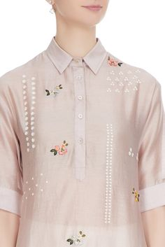 Champagne rose hand-embroidered sequin chanderi kurta