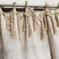 At Tassels & Tigers we obviously love the lace tassel trim on these rustic linen curtains! At Tassels & Tigers we obviously love the lace tassel trim on these rustic linen curtains! Cortinas Country, Cortinas Shabby Chic, Baños Shabby Chic, Shabby Chic Curtains, Farmhouse Curtains, Rustic Curtains, Shabby Chic Kitchen, Kitchen Curtains, Shabby Chic Homes