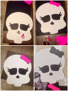 Homemade monster high pin the bow on the skull game