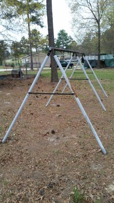 Our kids donated their old swing frame to make a chicken coop/run.