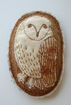 Embroidered owl brooch