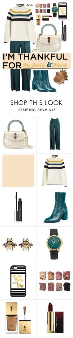 """I AM THANKFUL FOR"" by karlamy ❤ liked on Polyvore featuring Gucci, Genny, Closed, Clinique, Dear Frances, Casetify, Illamasqua and Yves Saint Laurent"