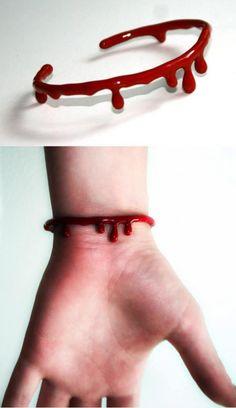 Blood Bracelet - hot glue on a bangle?