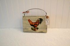 Primitive Red Rooster wooden vintage farmhouse sign, French farm house kitchen Rooster sign, country kitchen sign handmade