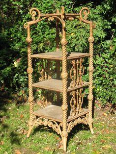 Rare Ornate Victorian Wicker Etagere
