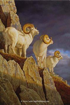 """Three Kings"" -mansanarez Wildlife Art by Tom Mansanarez, limited edition prints featuring elk, deer, antelope, moose, cats, cougar, mountain lion, hounds, horses, and bobcats. - Limited Edition Prints"