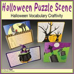 "Find and circle 60 fun Halloween vocabulary words across these four Word Search Puzzles. Then, cut out each completed puzzle, fold back the tabs, and create a ""Spooky Halloween Scene"" by arranging these ""Cut-Out Stand-Up"" Puzzles up on your desk or table! Halloween Word Search, Halloween Puzzles, Halloween Words, Halloween Scene, Spooky Halloween, Halloween Treats, Halloween Vocabulary, Printable Puzzles For Kids, Word Search Puzzles"