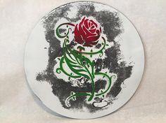 Rose on White Art Wall Hanging 10 Upcycled Vinyl