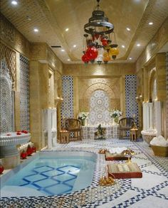 Bathroom, Le Belvedere, Los Angeles, California - This is an elaborate Turkish bath with hand-carved Egyptian limestone columns and marble walls.
