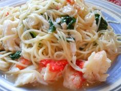 Just a quick post today for the pasta we had for lunch. I had some leftover crab meat and thought a pasta dish would be delicious. Cooked shrimp would work well too with this recipe. 6 o.z. angel…