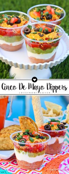 Love this fun and easy twist on seven layer dip, perfect … Cinco De Mayo Dippers. Love this fun and easy twist on seven layer dip, perfect for an outdoor fiesta! Snacks Für Party, Appetizers For Party, Appetizer Recipes, Ideas Party, Recipes Dinner, Dinner Ideas, Party Games, Breakfast Recipes, Gastronomia