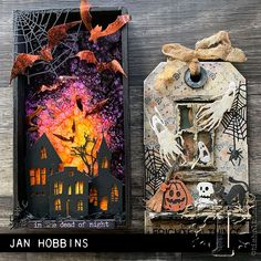 Tim Holtz tags made by Jan Hobbins, wonderful Sizzix Halloween elements Halloween Paper Crafts, Halloween Favors, Halloween Tags, Halloween 2019, Fall Halloween, Halloween Decorations, Halloween Costumes, Tim Holtz, Halloween Shadow Box