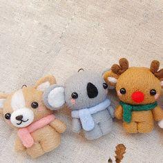 Needle Felted Felting Wool Animals Cute Bunny Bear Craft