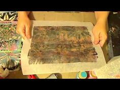 Journal Artista experiments with 2 types of Deli Paper, parchment paper and Stencils with the Gelli Plate JournalArtista LIVE