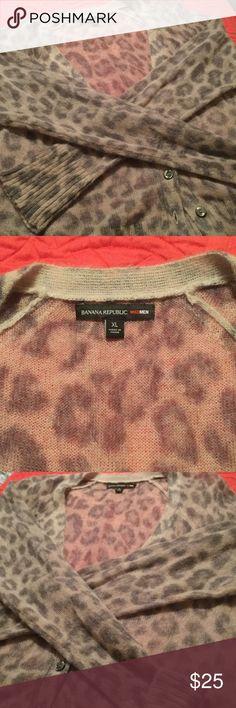 Banana Republic sweater Leopard print semi sheer short cardigan. Looks great with black! Banana Republic Sweaters Cardigans