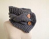 Chunky cable button cowl / cable scarf / wooden buttons / womens accessory / $60 hand made buttons oversized cowl