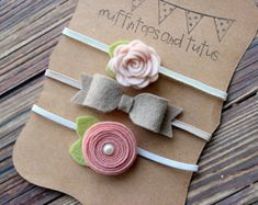 Felt headband set - newborn/baby/toddler headband - baby headband set - blush, vanilla latte and pale peach
