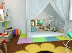 Love the idea of the curtains over the floor bed Baby Bedroom, Nursery Room, Boy Room, Girls Bedroom, Room Kids, Diy Toddler Bed, Toddler Rooms, Montessori Bedroom, Montessori Toddler