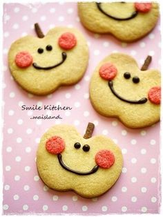 * Sweets * Image of apple-chan cookies | Mai & # s Smile ã .- * Sweets * Image of apple-chan cookies | Mai & # s Smile Kitchen - Galletas Cookies, Cute Cookies, Cupcake Cookies, Sugar Cookies, Cookie Desserts, Cookie Recipes, Sweets Images, Snickerdoodle Muffins, Apple Cookies