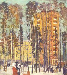 Овчаров Виктор Петрович (1928-1995) «Утро Радужного. Первый снег» 1972