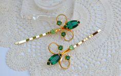 Vintage Rhinestone Bobby Pins Emerald Green Hair by JillsBoutique