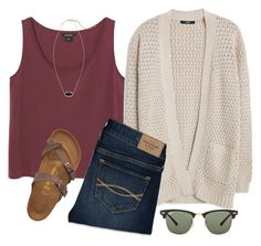 """""""#182 Saturday Morning Crepes"""" by ultimateprep on Polyvore featuring Monki, MANGO, Abercrombie & Fitch, Birkenstock, Ray-Ban, Kendra Scott, women's clothing, women, female and woman"""