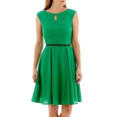 London Times Textured Keyhole Belted Fit N Flare Dress - JCPenney