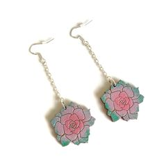 Colourful Cactus Flowers Jewellery Handmade Wooden, Handmade Gifts, Laser Cut Jewelry, Echeveria, Cactus, Succulents, Bling, Etsy Shop, Drop Earrings