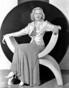 """Jean Arthur -- on an Art Deco throne. Love her in so many things, but my favorite is probably """"The More the Merrier.""""  ['Talk of the Town' and 'You Can't Take it With You' are wonderful runners-up; and I guess I can't leave out """"Mr. Deeds Goes to Town"""" among her best performances."""