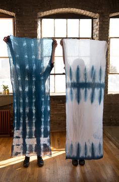 Hand dyed shibori scarf / white cotton gauze with blue shibori design / lightweight cotton / indigo and white