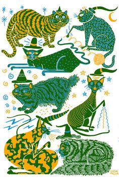Pussies on Parade - A Gallery of Feline Art - Witch Cats by Llew Mejia from Minneapolis, MN