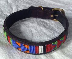 Leather dog collar, Dog collar, Beaded dog collar, Handmade dog collar, Pet collar, Leather collar, Boho dog collar, Hippie dog collar by wasaniicrafts on Etsy