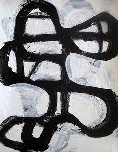 Abstract painting modern black and white minimalist original geometric art / 14x11 / ELSTON - $50 on Etsy