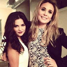 Danielle Campbell (Davina) and Leah Pipes (Cami) behind the scenes of The Originals.