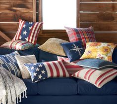 Flag Embroidered Lumbar Pillow Cover #potterybarn