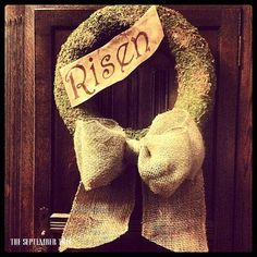 Easter wreath Spring wreath moss burlap bow 14 by TheSeptemberTree on Etsy,