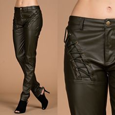 Islay Olive Lace Up Faux Leather Pants Olive faux leather pants with lace up accents in the front. Brand new. True to size. NO TRADES Bare Anthology Pants
