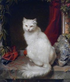 Clement Burlison  1815-1899- White Cat. My goodness, this looks so much like the white angora cat we had for many years when I was a child.