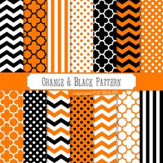 Buy 2 Get 1 Free! Digital Paper Orange & Black Pattern, halloween theme, polka dots, white stripes, chevron for label, scrapbook, seamless by PeppyPapers on Etsy