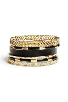 GUESS Selina Gold-Tone Bracelet Set and other apparel, accessories and trends. Bracelet Set, Bangle Bracelets, Bangles, Ladies Bracelet, Silver Diamonds, Boho, Modern Jewelry, Gold Sparkle, Gold Gold
