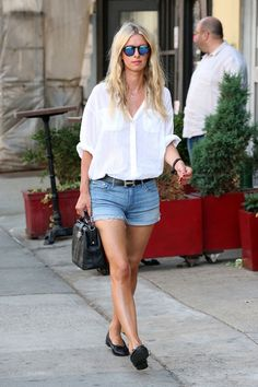 Laidback Luxe: Nicky Hilton's Oversized Blouse and Cuffed Denim Shorts Look for Less