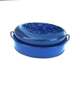 REVONOC Blue Enamel Roasting Pan Large Vintage Turkey by jarmfarm